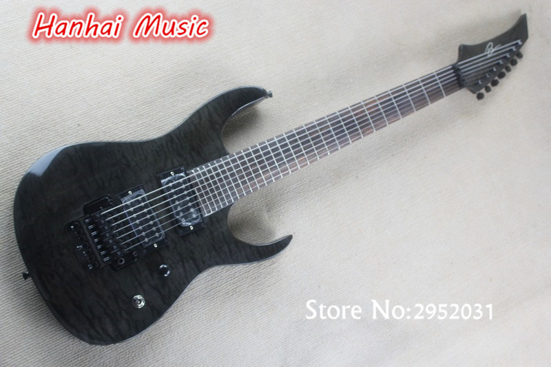 free shipping 7 string electric guitar with dark grey body quilted maple veneer 27 frets black. Black Bedroom Furniture Sets. Home Design Ideas