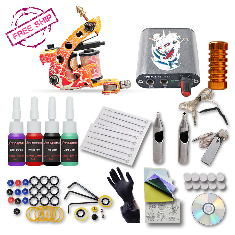 Brazil Complete 1 Tattoo Machine Gun 4color  Inks  Power Supply Set Beginner Tattoo Kit beginner tattoo kit 2 machine gun with lcd tattoo power inks supply free shippiing