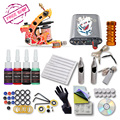 Brazil Complete 1 Tattoo Machine Gun 4color  Inks  Power Supply Set Beginner Tattoo Kit