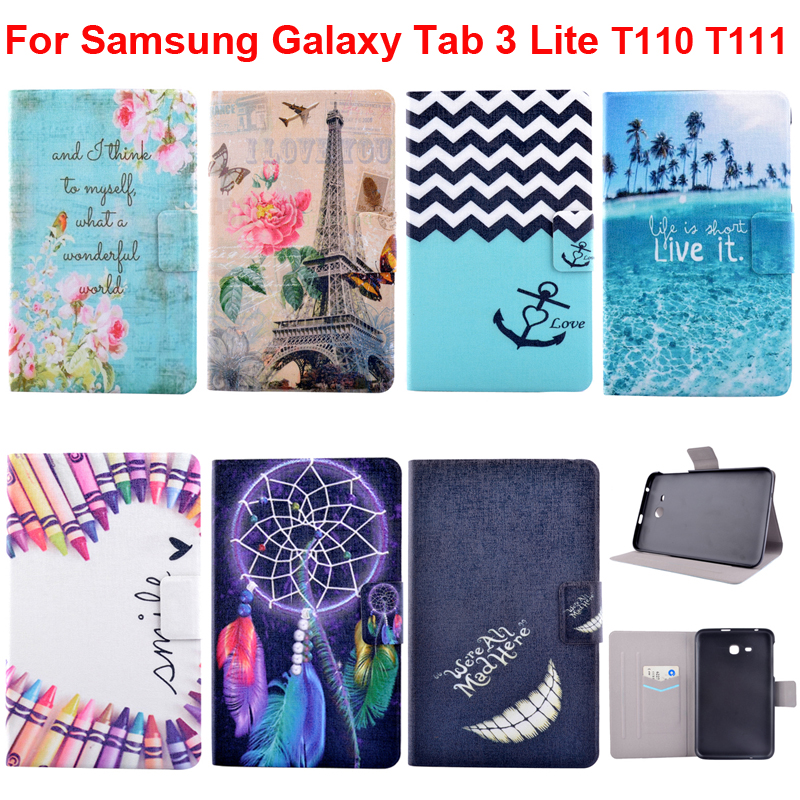 timeless design af8d1 ab2e0 Stand Cover For Samsung Galaxy Tab 3 Lite T110 Case Pouch Galaxytab3lite  T111 SM-T110 Tab3 Lite With Tree Flower Butterfly Print