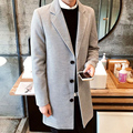 2016New fashion men coats wool high quality long turn-down collar solid single breasted  mens jackets cashmere overcoat 5colour