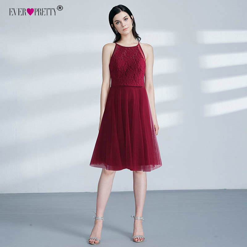 Knee Length Burgundy   Cocktail     Dresses   Ever Pretty EZ03042 A-line Tulle Backless Sexy Lace Appliques Formal Vestido Coctel Corto