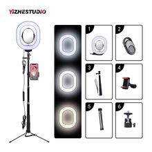 Buy Yizhestudio 3500-5500k Photography Dimmable LED Selfie Ring Light With Phone Holder USB Plug Tripod  Stepless Selfie light directly from merchant!