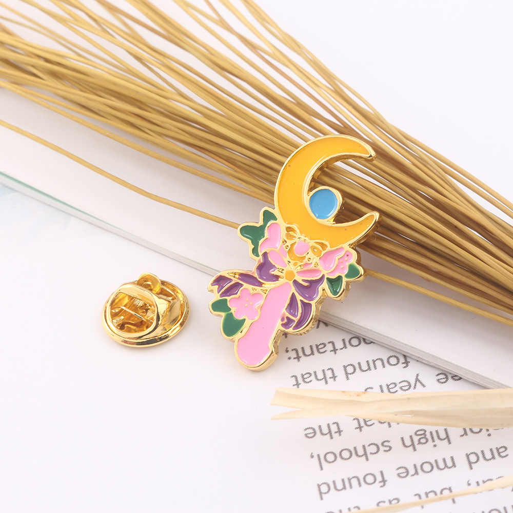 SG Baru Animado Sailor Moon Enamel Bros Tsukino Usagi Bulan Tongkat Bunga Lencana Pin Wanita Pria Kalung Perhiasan Hadiah