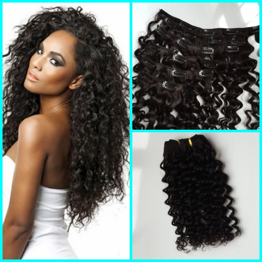 Brazilian Deep Wave Clip In Hair Extensions 7pcs Full Head7a