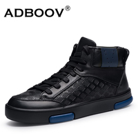 ADBOOV Genuine Leather High Top Sneakers Men Fur Lining Winter Shoes Zapatos Para Hombre Casual Shoes