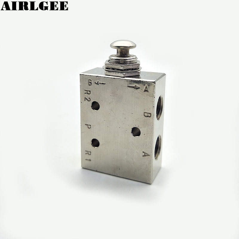 TAC2-41P 2 Position 5 Way Spring Return Push Button Pneumatic Mechanical Valve 1 8pt thread 2 position 3 way rectangle mechanical air pneumatic valve tac2 31v
