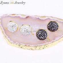 20 pares ZYZ299 3823 pendientes de forma redonda de 14mm tachuelas, accesorios de pendientes de diamantes de imitación pavimentados, para hacer hallazgos de joyería