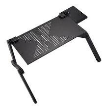 YOC-Tragbare Faltbare Einstellbar Laptop Schreibtisch Computertisch Tischladeschale Für Schlafsofa Schwarz