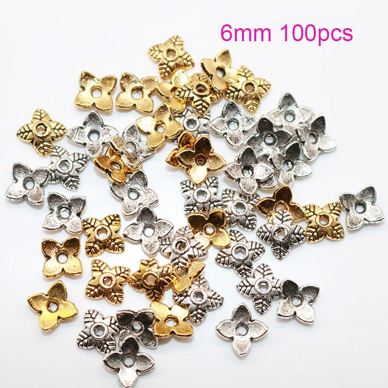 6MM 100pcs/lot Metal 4 Petals Flower Bead Caps Silver Plated Beads End Caps Charms For Beads Jewelry Making Wholesale