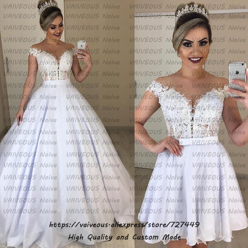 Vestido de noiva 2 em 1 Detachable Train Bride Dress Romantic Lace Beaded Ball Gown 2