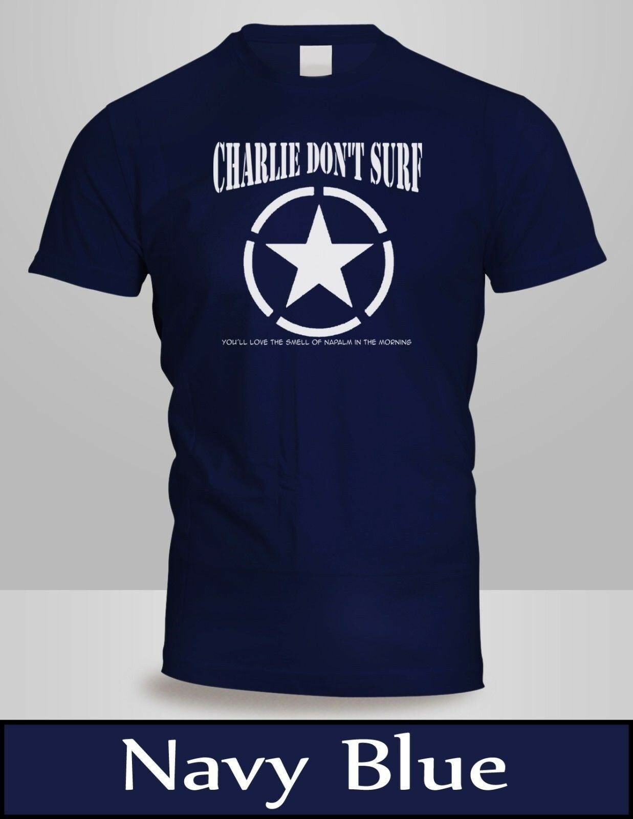Apocalypse Now, Charlie Don't Surf T-Shirt Mens Navy Blue Cult Movie Shirt 3 image
