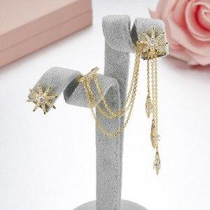 Image 5 - SLJELY marka 925 srebro grzywny projektant mikro cyrkonia długi Tassel gwiazda AB kolczyki kobiety moda seksowna biżuteria