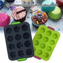 Mini Muffin 12 Holes Silicone Round Mold DIY Cupcake Cookies Fondant Baking Pan Non-Stick Pudding Steamed Cake Mold Baking Tool 6 12 holes square cupcake pan muffin tray cupcake mold muffin pan carbon steel baking pan non stick bakeware biscuit pan zxh