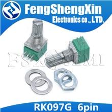10 шт./лот RK097G 6Pin 5K 10K 20K 50K 100K B5K с аудиовалом переключателя 15 мм, усилитель, уплотнительный потенциометр