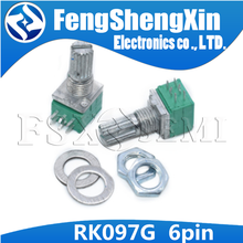 10pcs/lot RK097G 6Pin 5K 10K 20K 50K 100K B5K with a switch audio shaft 15mm amplifier sealing potentiometer