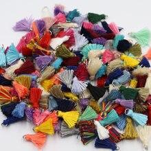 20 pçs 1.5cm anel de metal mini algodão fio borlas diy artesanato brinco roupas cortina jóias decoração acessórios pequena franja guarnição