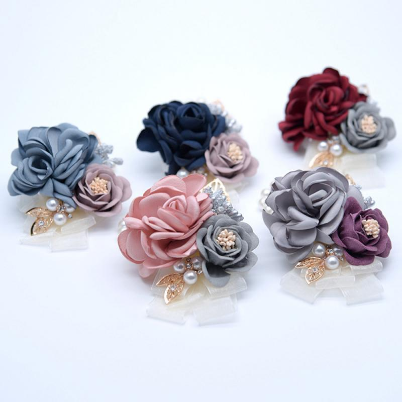 1PCS Wedding Bridal Bridesmaid Wrist Flower  Bracelet Boutonniere Bride Wrist Corsage Women Hand Artificial Flower Decoration
