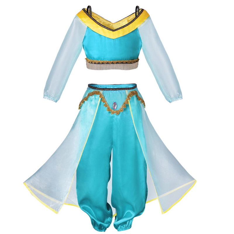 Image 5 - Dress For Girls Jasmine Dress Kids Princess Costume Children Carnival Birthday Party Clothes Cosplay Clothing Accessory WigDresses   -