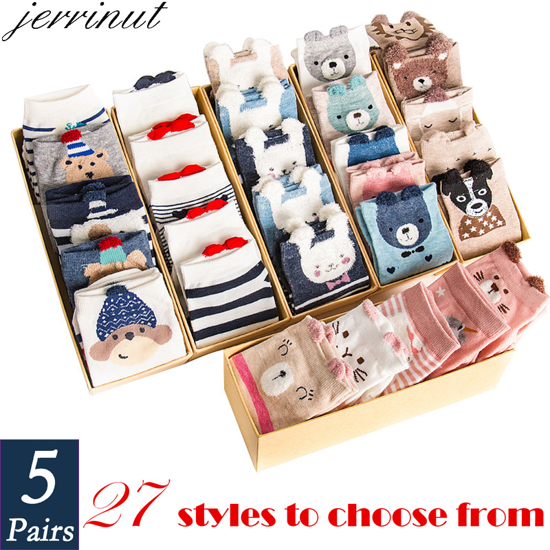 Women's Cotton Happy Funny Invisible Socks With Print Cartoon Animal Casual Short Socks Cute Summer Thin Ankle Socks 5 Pairs/Lot