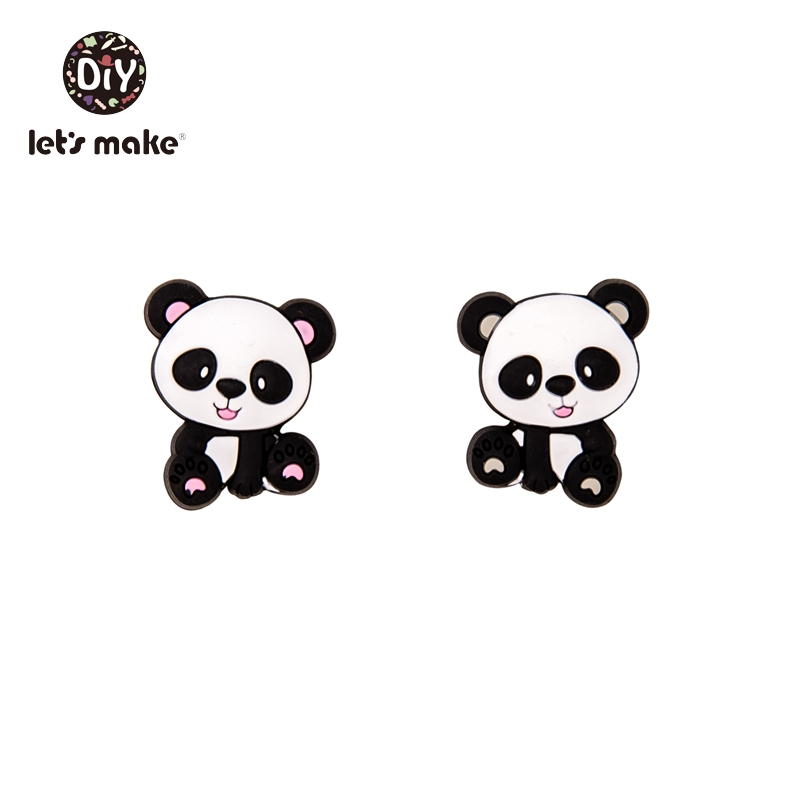 Купить с кэшбэком Let's Make Silicone Teether Panda 5PCS China National Treasure 4-6 Months BPA Free Animal Cartoon Christmas Gifts Baby Teething