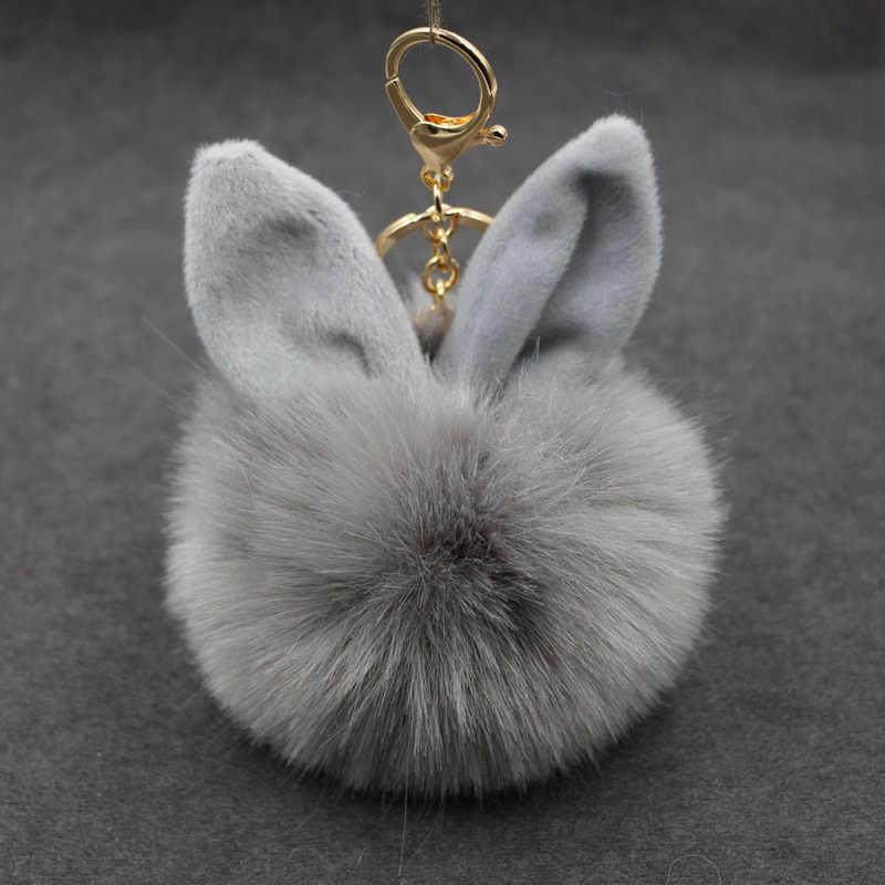 ใหม่ Fluffy ของเล่นกระต่ายหูพวงกุญแจกระต่าย Key CHAIN ขนสัตว์ผู้หญิงกระเป๋า Charms พวงกุญแจ Pom Pom จี้รถ PomPom ผู้ถือเครื่องประดับ