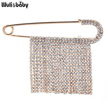 Wuli&baby Full Rhinestone Tassel Pins For Women Unisex Sweater Suits Brooch Pins Gifts