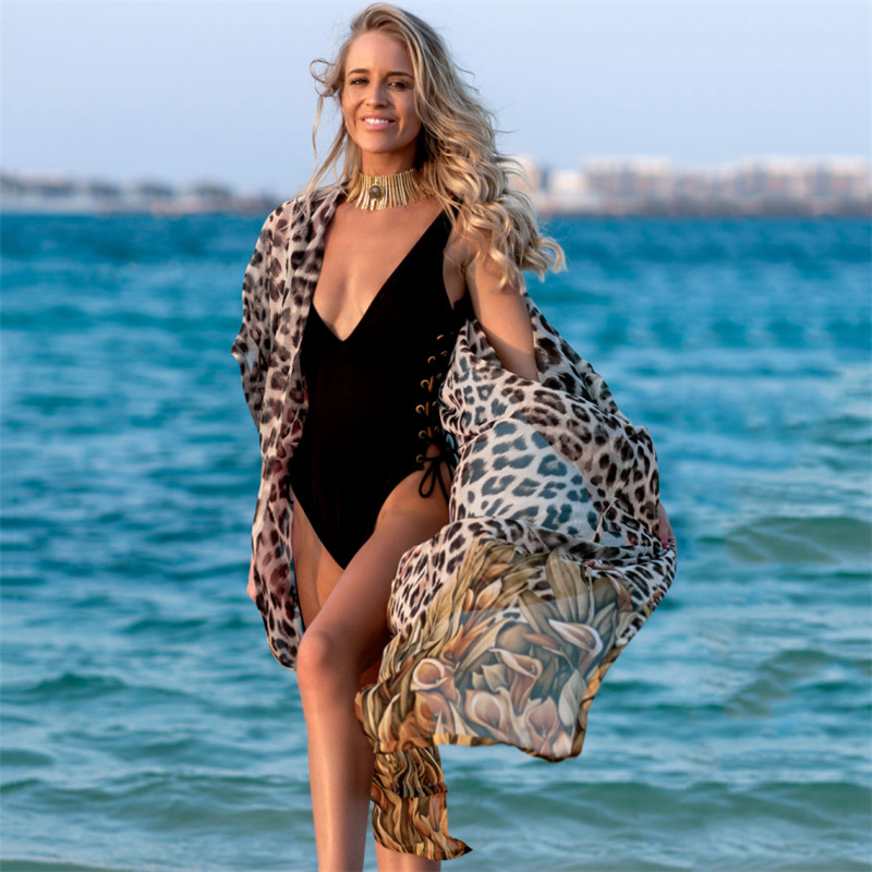 Beach Dress Tunic Saida De Praia Bikini For Women May Female New Chiffon Leopard Print Sexy Cardigan Swimsuits With Skirt Loose