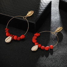 Bohemian Natural Stone Shell Drop Earrings For Female Round Hoop Gold Color Alloy Drop Earrings Valentine's Day Gift Jewelry national wind alloy jewelry round stone earrings