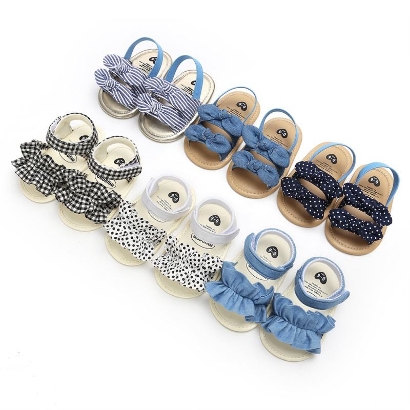 Summer Newborn Infant Baby Girls Soft Sole PU Breathable Anti-Slip Bow Shoes Sandals Striped Bow First Walkers