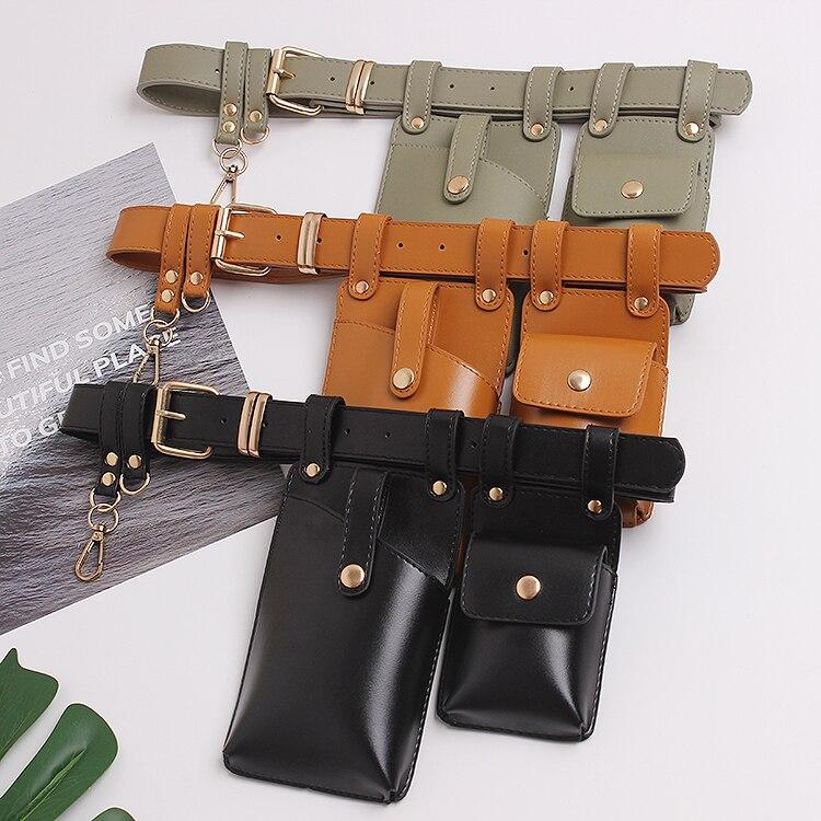 Brand Women Waist Pack Green Yellow Solid PU Chest Bag Korean Street Leather Double Bags Waist Belts Purse Phone Wallet Bags