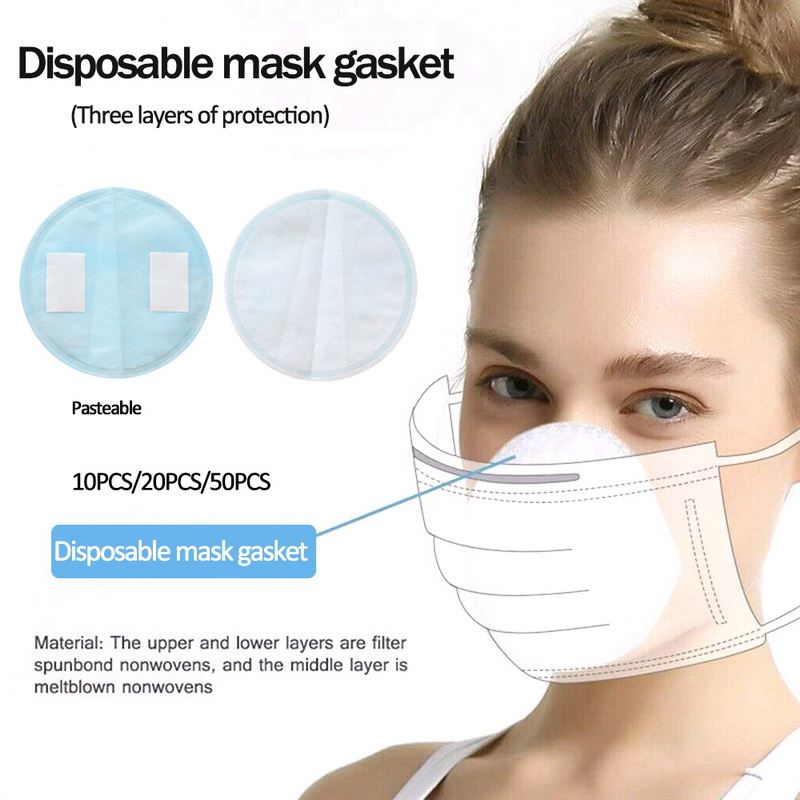 50pc 3Layer Disposable Masks Gasket Safe Anti Dust Breathable Mouth Face Mask Replacement Pad Comfortable Filter Protection Pad