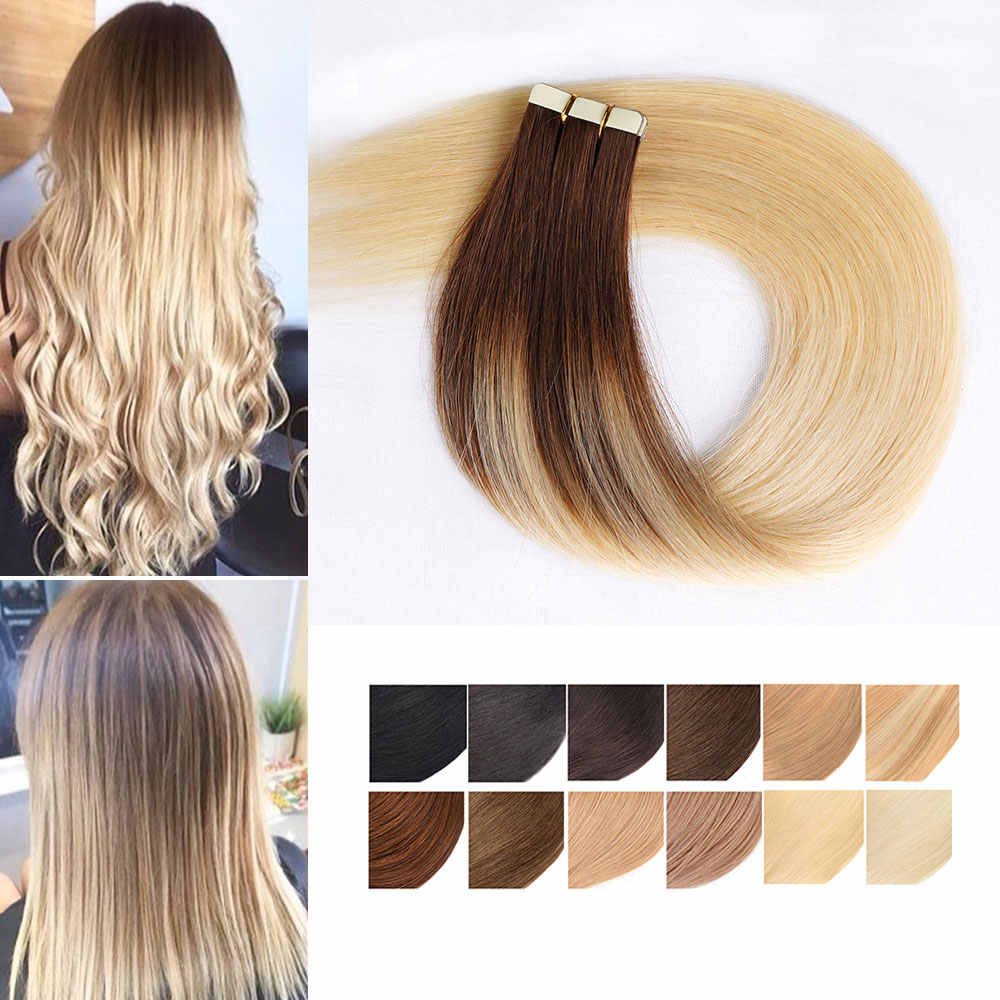 Remy Tape in Human Hair Extensions Full Cuticle Straight Invisible Skin Weft Hair Adhesive Natural Real Hair Extensions