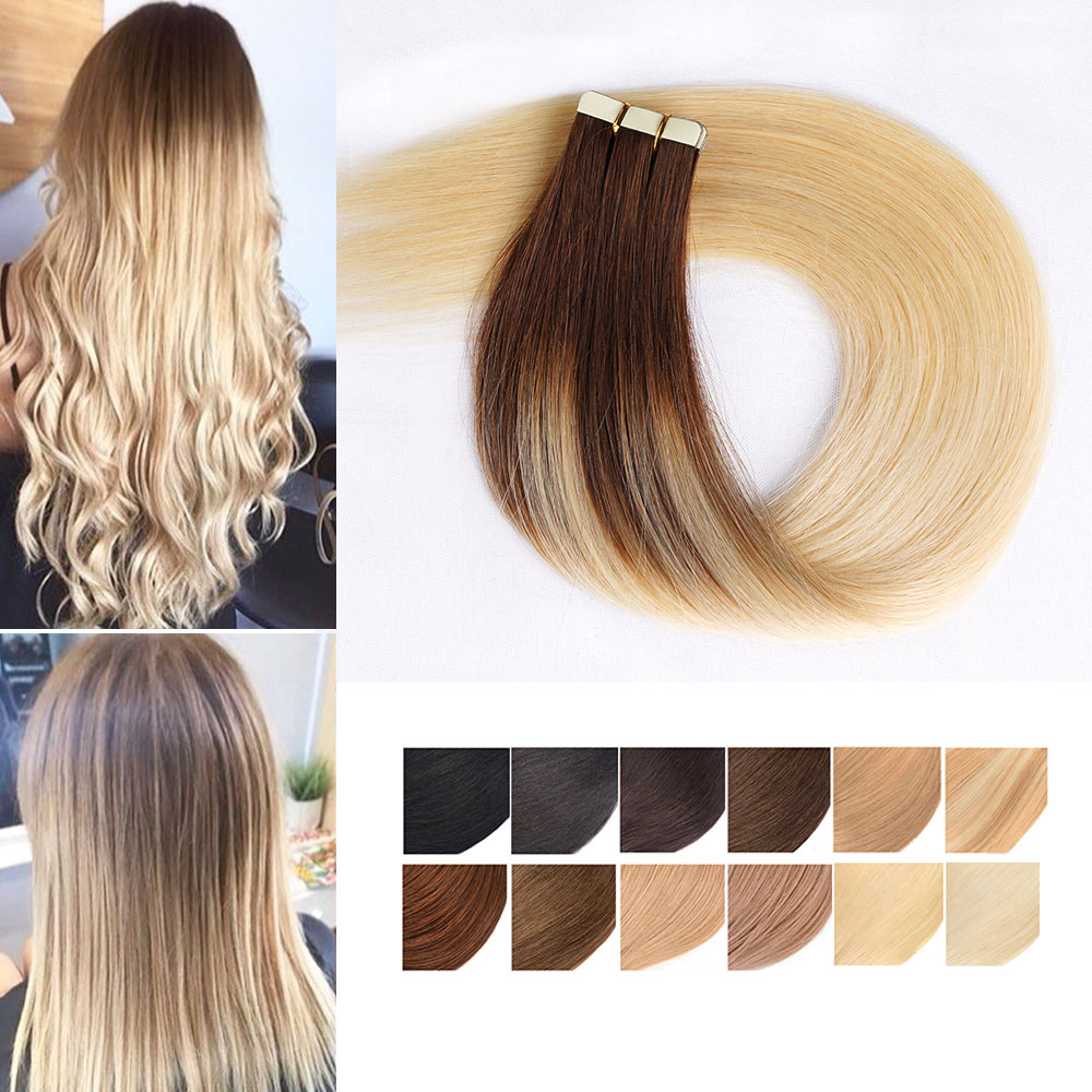 Remy Tape In Human Hair Extensions Full Cuticle Natural Real Hair Invisible Skin Weft Hair Adhesive  Extensions For Salon Hair