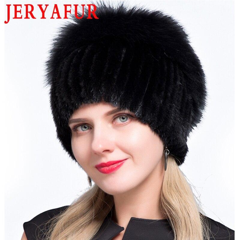 JERYAFUR New Fashion Winter Hats For Women Real Mink Fur Hat Female Patchwork Fox Fur Mix Color Internal Knitting Beanies Warm