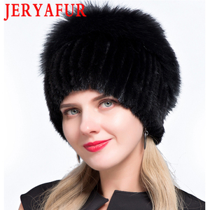Image 2 - JERYAFUR New Fashion Winter Hats For Women Real Mink Fur Hat Female Patchwork Fox Fur Mix Color Internal Knitting Beanies Warm