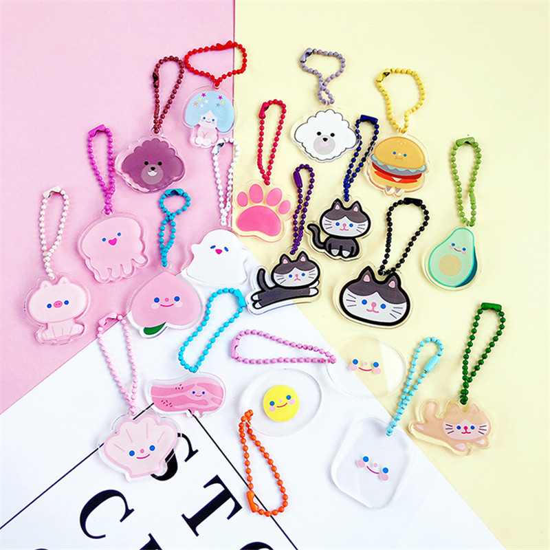 Korea Cute Acrylic Design Cloud Cat Keychains Pendant Women Charm Bags Accessories For Car Keying Airpod Pendant  Gift