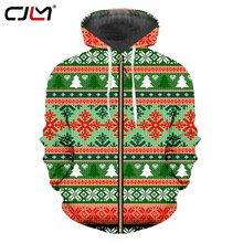 Cjlm Рождественская Толстовка с капюшоном 3d принтом на молнии