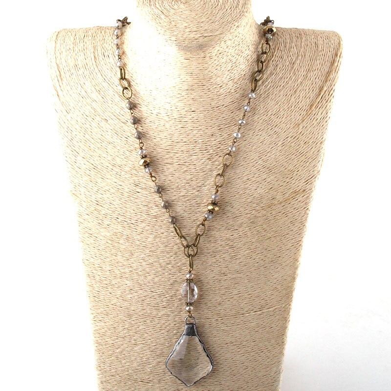 Модные богемные ювелирные изделия Античный камень цепочка со стразами кристалл кулон ожерелье s для женщин национальное ожерелье - Окраска металла: 7