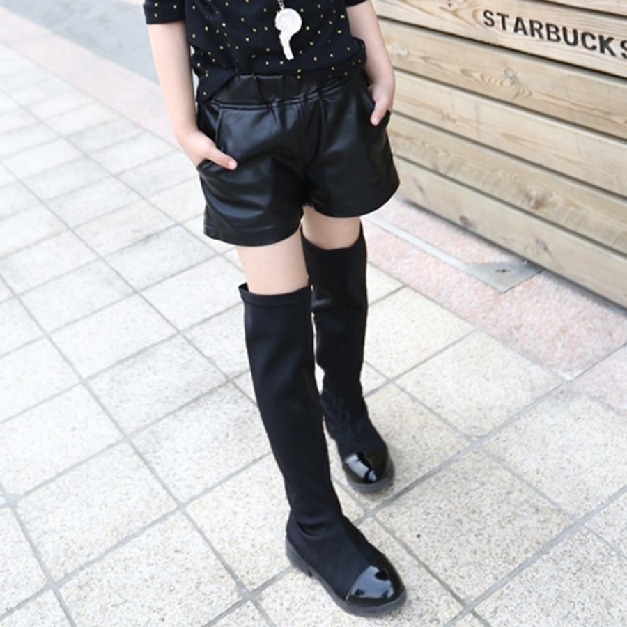 Faux Leather Short Girls Winter Fleece Warm Thick Short Pants Children Casual Solid Leather Bottom 1