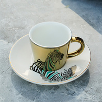 Creativo leopardo anamórfica taza espejo reflejo taza Tigre taza de cebra Luycho juego de té de café con posavasos 220ml|Tazas| |  -