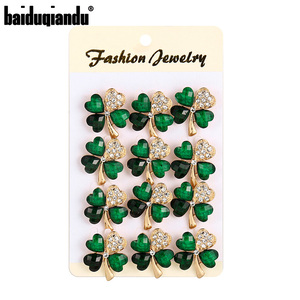 baiduqiandu New Arrival Set of 12 PCS Crystal Green Leaf Brooch Lapel Pins Clothing Jewelry Accessories