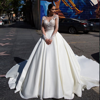 2020 New Listing Tulle Satin Ball Gown Wedding Dresses Vestido De Noiva Princesa Appliques Flowers See Through See Dress