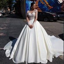 Robe De mariée en Satin en Tulle transparent, robe De mariée princesse, application, transparente, nouvelle collection 2020