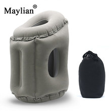 Travel pillow Inflatable air soft cushion trip portable innovative products body back support Foldable blow neck pillow p162(China)
