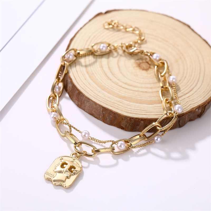 VKME oferta specjalna wisiorek bransoletka nowy styl marka kobiety bransoletka róża kwiat bransoletki z pereł złoty łańcuch bransoletki moda