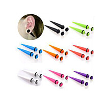 2pcs UV Acrylic Illusion Ear Fake Cheater Stretcher Taper Spike Plug Tunnel Expander Earrings Gauges Body Jewelry