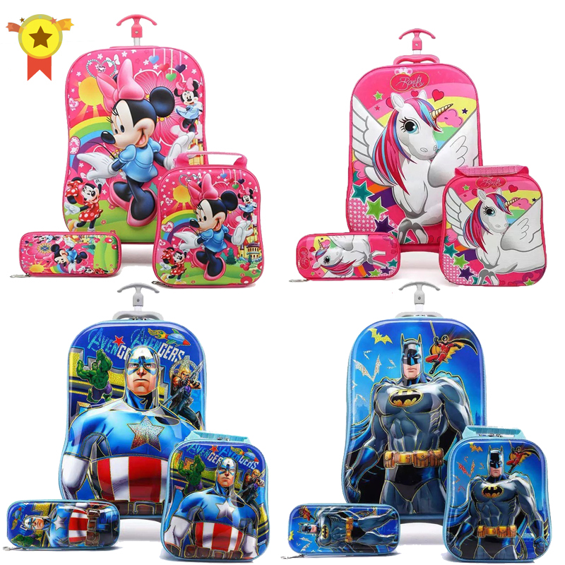 kids Travel suitcase on wheels 3D Anime stereo Student trolley case set Cute boy girl cartoon Lunch bag pencil box children gift(China)