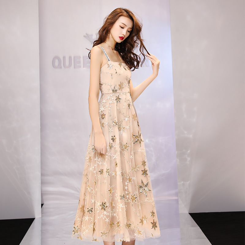 2020 Vestido De Noiva Dress Is The New 2020 Autumn-winter Temperament, Cultivate Morality Show Thin Long Birthday Party Evening