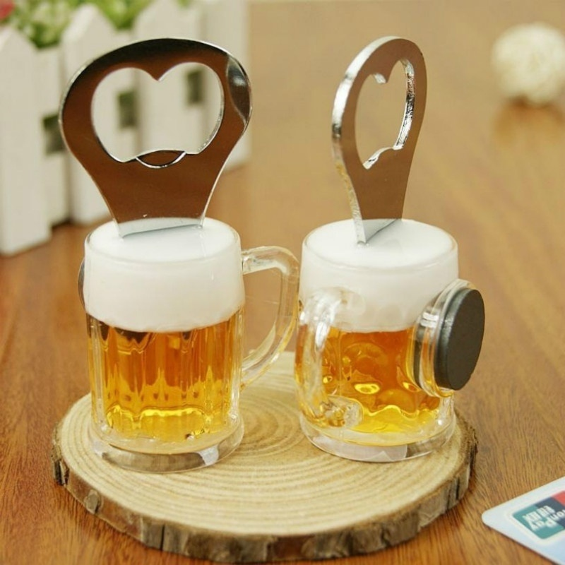 Creative Mini 3D Beer Bottle Opener Home Personality Drink Bottle Opener Refrigerator Stick Bar Magnetic Stickers Decoration